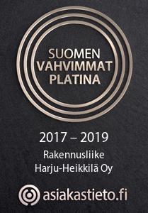 Suomen vahvimmat platina logo Rakennusliike Harju-Heikkilä Oy 2017-2019
